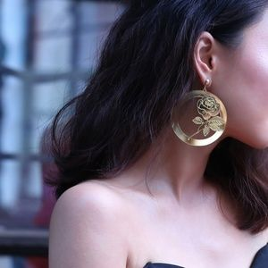 Unique Design//Roses Hoop Drop Earrings Gold
